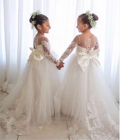 Holy First Communion Girls Gowns with Lace Appliques by PickAProduct