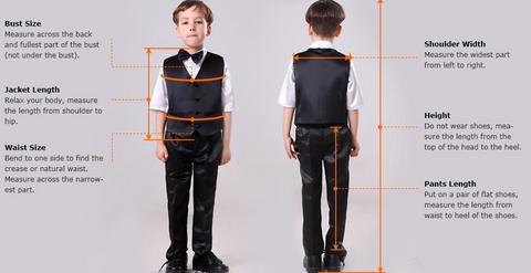 5 Piece Boys' White Formal Suit for Weddings by PickAProduct Size Chart