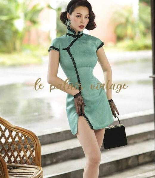 Vintage Green Short Satin Dress by Pick a Product