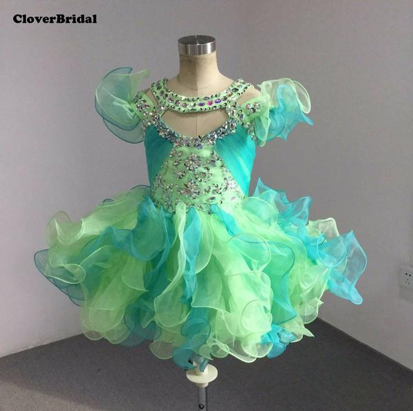 Lime/Jade Cute Ruffled Straps Beaded Pageant Dress by Pick a Product