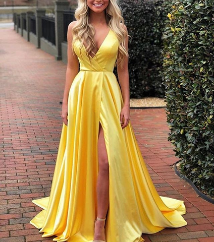 Long Charming Green Yellow Backless A-Line Prom Dress by Pick a Product