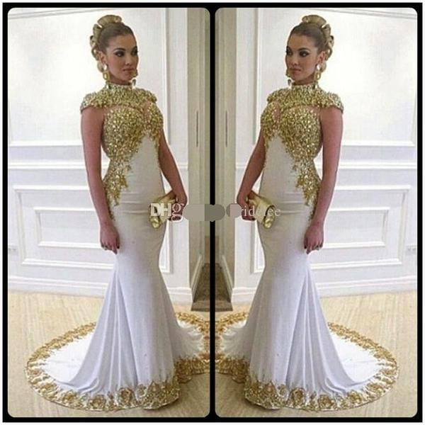 Luxury Long Mermaid Evening Dress with Gold Lace by Pick a Product