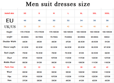 Men's 3 Piece Suit Wedding Tuxedos with Shawl Lapel by PickAProduct Size Chart