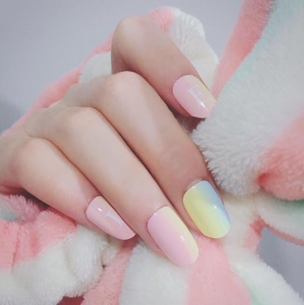 Rainbow False Sticker Nail Tips With Glue Gel by Pick a Product