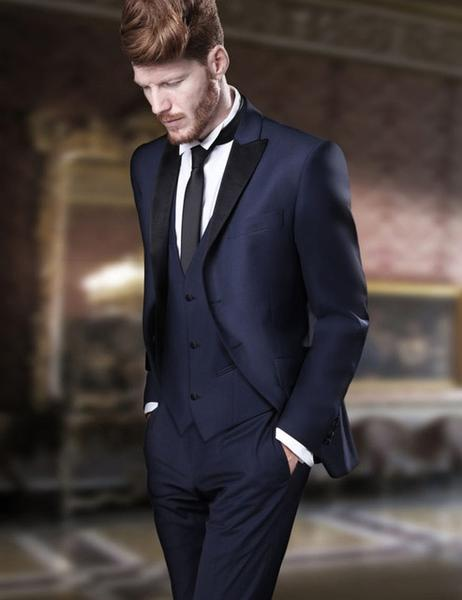 Navy Blue Suit (Jacket+Pants+Tie+Vest) by Pick a Product