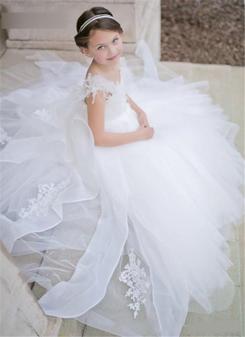 New Pure White Tulle Lace Arabic Flower Girl Dress by PickAProduct
