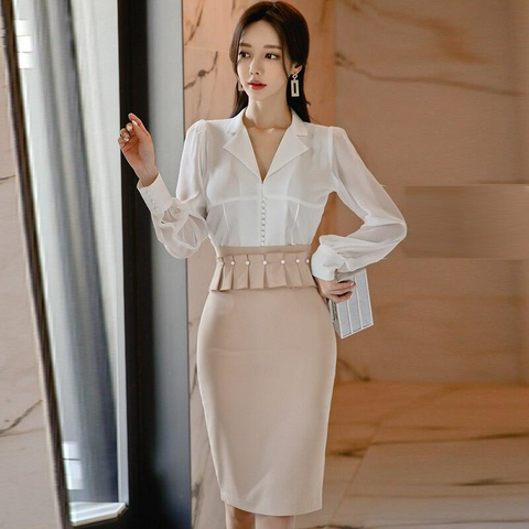 Two-Piece Long Sleeve White Blouse+Mini Pencil Skirt by Pick a Product