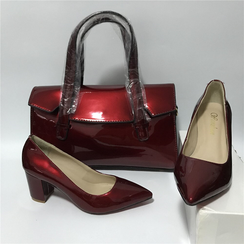 Wine Red High Heel Ladies Shoes with Matching Bag