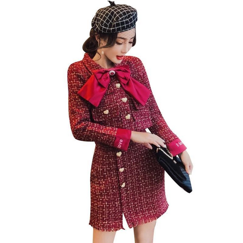 Women Winter 2 Piece Set Plaid Tweed Jacket and Skirt by PickAProduct
