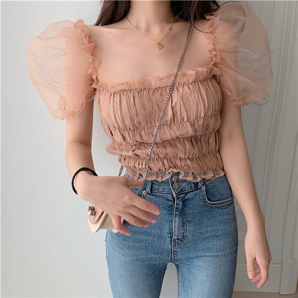 Chic Chiffon Ruffles Women's Blouse with Puff Sleeves by PickAProduct