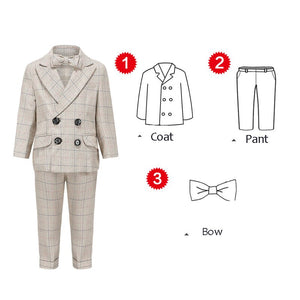 Infant Garcon Mariage Boys Plaid Khaki Suit Set by PickAProduct
