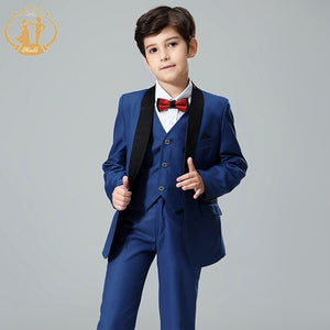 Blue 3 Piece Set Suit for Boy (Jacket+Vest+Pants) - little-darling-fashion-online