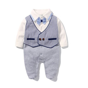 Boy's Cotton One-Piece Vest Rompers Suit with Bow Tie by PickAProduct