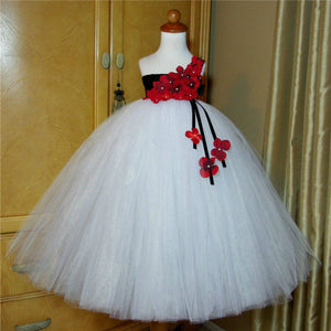 Girl's Black White and Red Hydrangea Flower Dress by PickAProduct