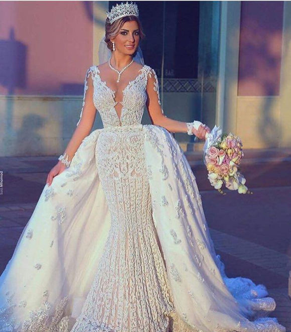Full Beading Mermaid Wedding Dresses Detachable Train