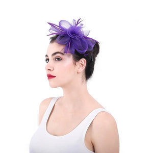 Women's Elegant Purple Wedding Fascinators Hats - little-darling-fashion-online