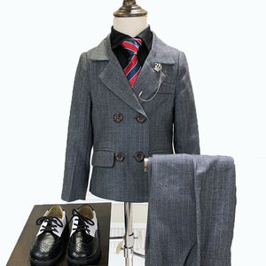Children's Formal Double-Breasted Striped 2 Piece Suit by PickAProduct