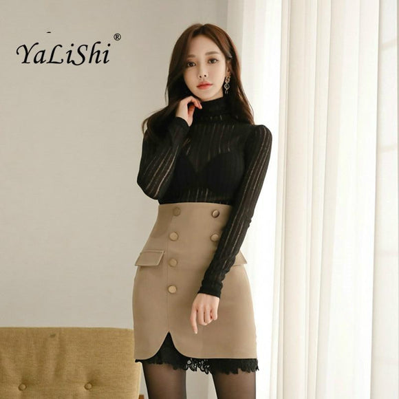 Office Lady Top and Khaki Short Strap Skirt Two Piece Set