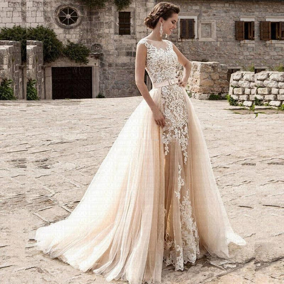 2 in 1 Vestido De Noiva Mermaid Wedding Dress - little-darling-fashion-online