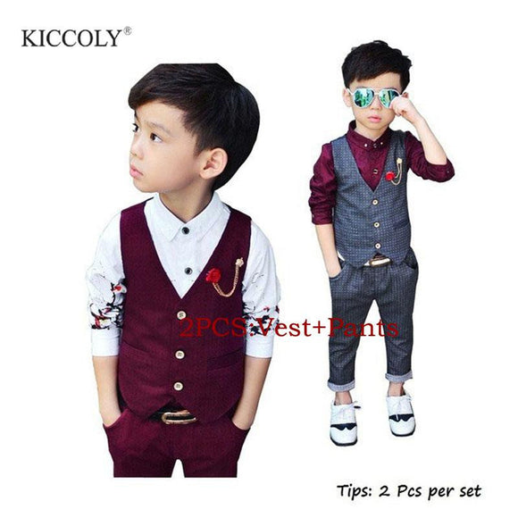 2Pcs Boys Spring Formal Wedding Vest Suit - little-darling-fashion-online