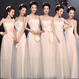 Long Romantic Champagne Bridesmaid Dress - little-darling-fashion-online