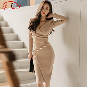 2017 V-Neck Full Sleeve Office Sets 2 Pieces Suits Dress Women Crop Top Bodycon Midi Sexy Irregular Skirt Work Vestidos