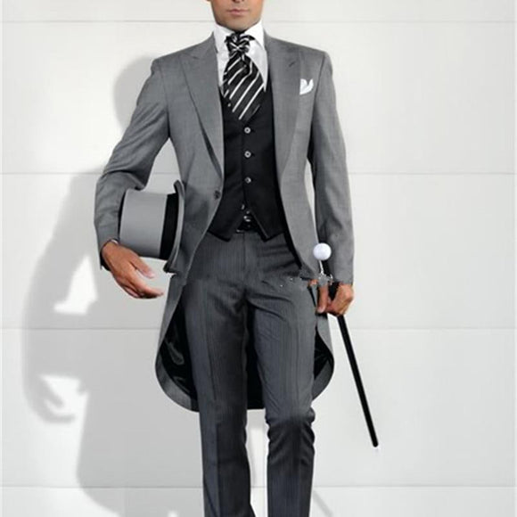 Grey Men Blazer Tailcoat Suits by Pick a Product