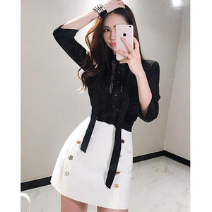 Bowknot Black Blouse + Mini White Buttons Skirt by Pick a Product
