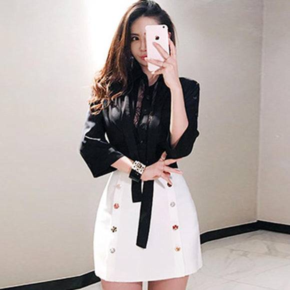 Bowknot Black Blouse + Mini White Buttons Skirt - little-darling-fashion-online