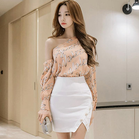 One-Shoulder Words Print Blouse + Mini Skirt by Pick a Product