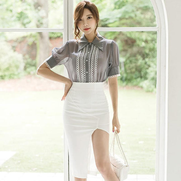 Lace Half Sleeve Blouse + Split White Skirt by Pick a Product