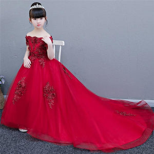 Girls Luxury Wedding Party Red/Pink Long Tail Dress