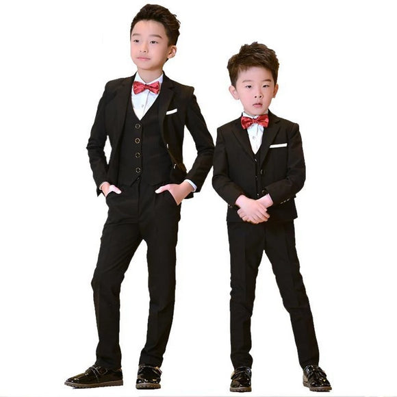 Children Black Formal Suits 4/5 Pce Sets - little-darling-fashion-online