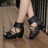 Ethnic Style Genuine Leather Womens Sandals (3 cm) - little-darling-fashion-online