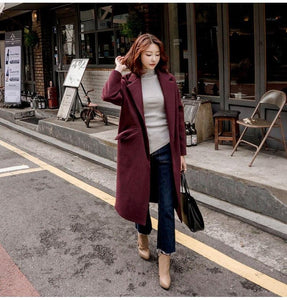 2018 New Arrival  Women Solid Color Korean  Medium Long Loose Casual Wool Coat Trench Outwear Overcoat