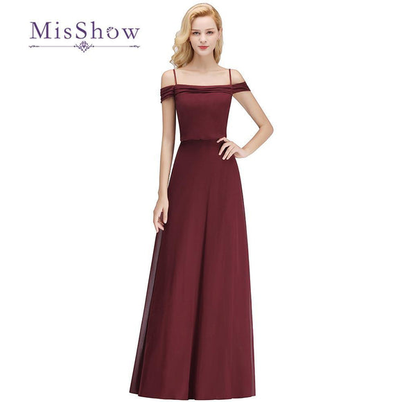 Burgundy Off the Shoulder Bridesmaid Dress by Pick a Product