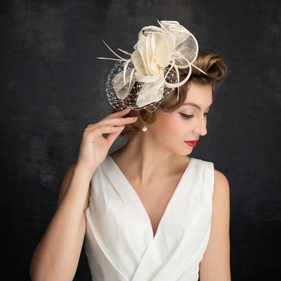 British Style Bridal Hat with Feather & Flower by Pick a Product