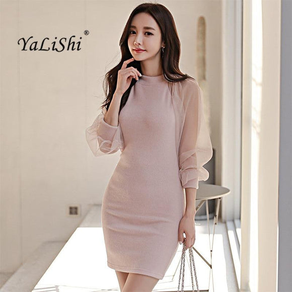 2018 Spring Dresses Pink Office Mini Dress - little-darling-fashion-online