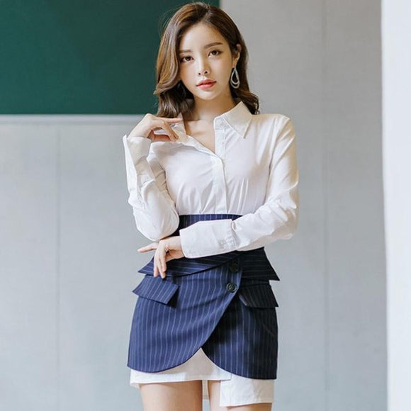Sleeve White Blouse + Striped Mini (S-L) by Pick a Product