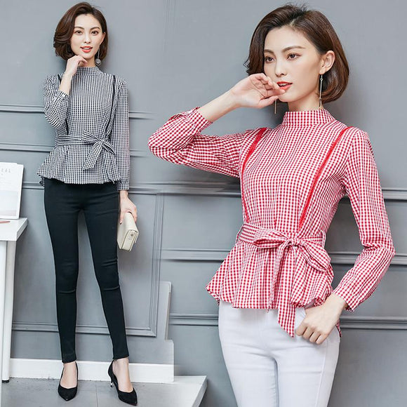 2018 Spring New Women Long-sleeved Shirt Stand Collar Bowknot Belted Plaid Blouse Sweet Cute Peplum Shirt Camisas Chemises Femme