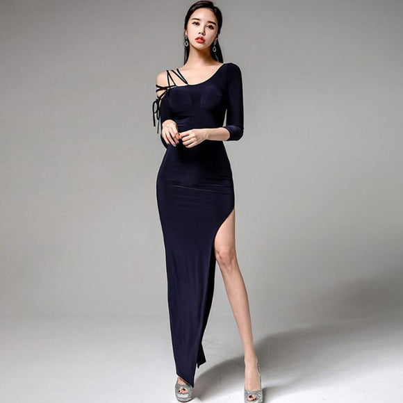2018 Spring One-Shoulder Maxi Long Dress Ankle-Length Solid Sheath Bodycon Sexy Party Vestidos