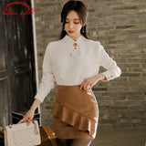 2018 Spring White Office Blouse Khaki Mini Skirt - little-darling-fashion-online
