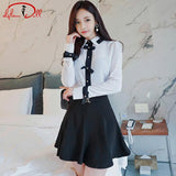 2018 Spring White Full Sleeve Office Blouse Shirt Vintage Bowknot OL Pleated Black Mini Skirt 2 Piece Sets Brief Work Dress