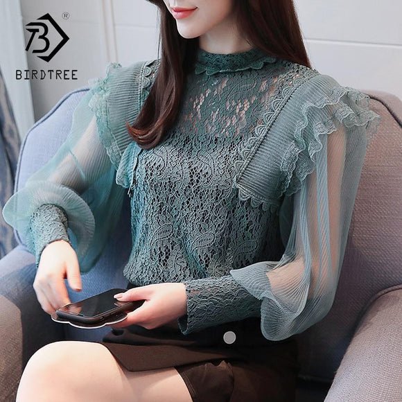 2018 Spring Women Lace Blouse Long Sleeve Fashion Blouses and Shirts Hollow Out Casual Female Clothing Plus Size 2XL T83733L