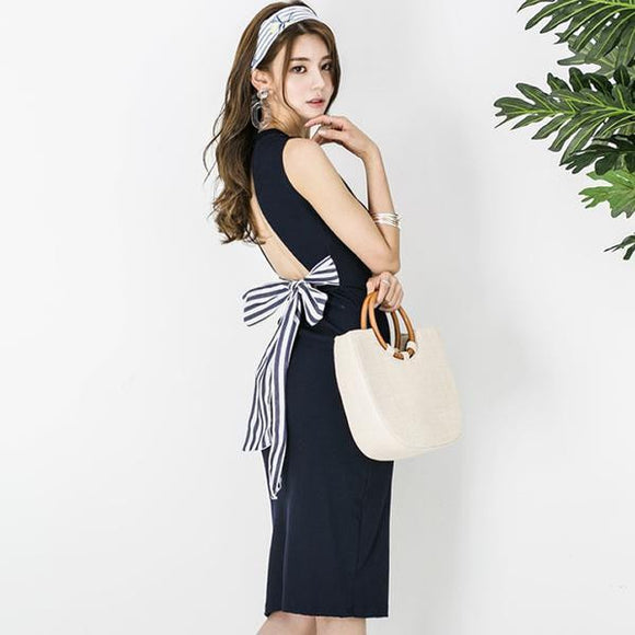 Summer Backless Bowknot Knee-Length Party Dress (S-XL) - little-darling-fashion-online