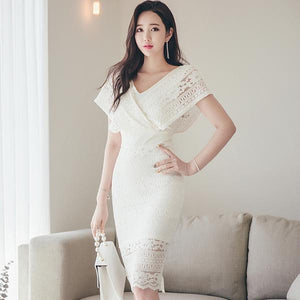Summer Bat Sleeve White Full Lace Party Dress (S-L) - little-darling-fashion-online