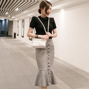2018 Summer Black Slim T-Shirt Bodycon Striped Fishtail Skirt Two Piece Knee-Length Sets Work Office Suit Dress