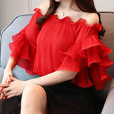 2018 Summer Fashion Women Shirts Slash Neck Short Sleeve Ruffles Chiffon Blouse Pleated Female Summer Tops Chemises Femme S-XXL
