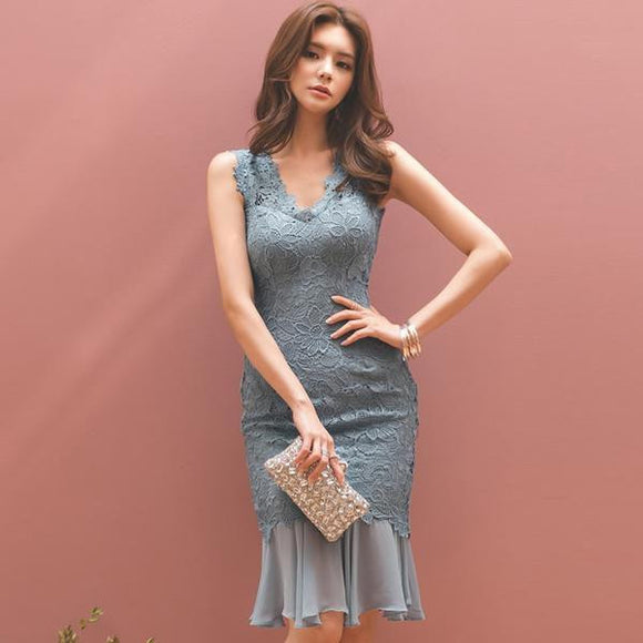 Summer Full Lace Chiffon Fishtail Party Dress (S-XL) - little-darling-fashion-online