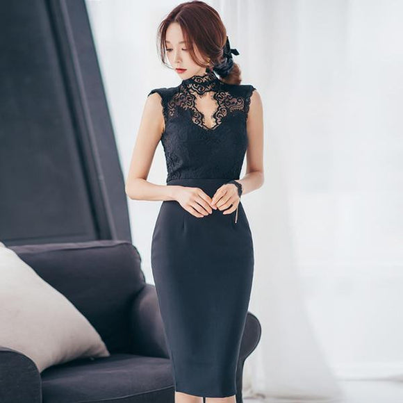 Summer Hollow Out Stand Neck Lace Party Dress by Pick a Product
